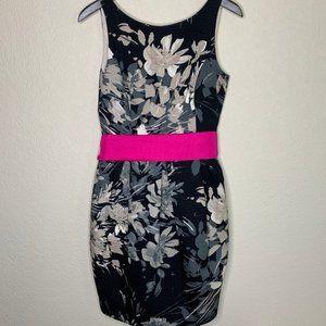 Eliza J black floral dress with hot pink tie belt